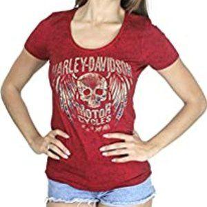 NWT Harley Davidson Womens Red Skull T Shirt